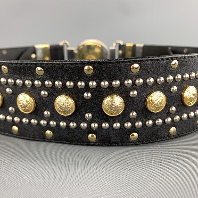 GIANNI VERSACE Black Leather Silver & Gold Tone Studded Medusa Belt For Sale 3