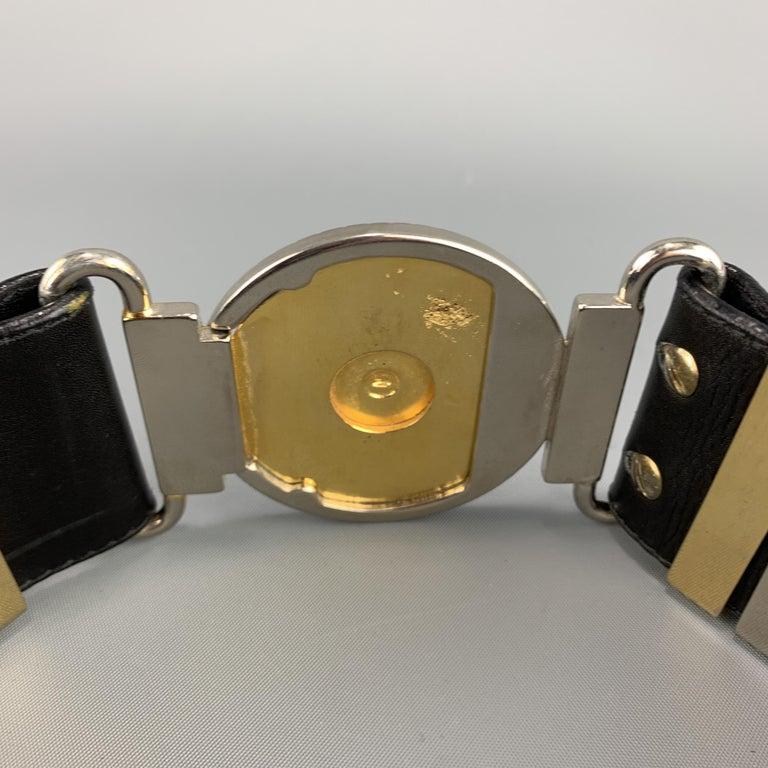 GIANNI VERSACE Black Leather Silver & Gold Tone Studded Medusa Belt For Sale 5