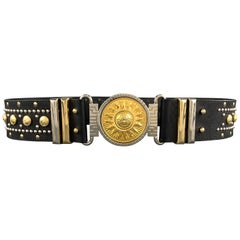 GIANNI VERSACE Black Leather Silver & Gold Tone Studded Medusa Belt