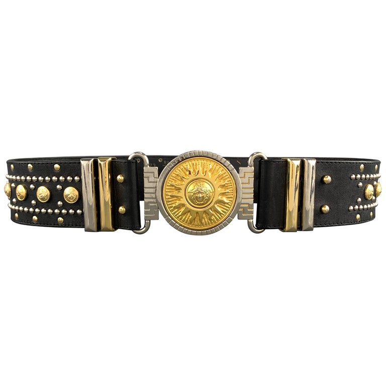 GIANNI VERSACE Black Leather Silver & Gold Tone Studded Medusa Belt For Sale