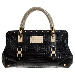 Gianni Versace Black Leather Snap Out Of It Satchel