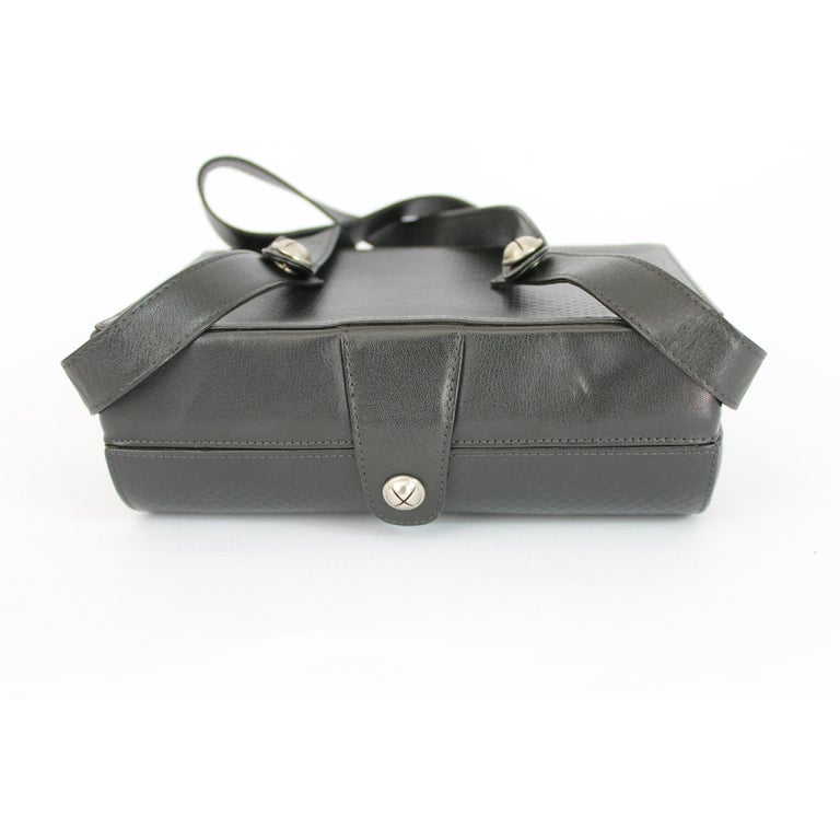 Gianni Versace Black Leather Trunk Bag Structured Rigid 1980s For Sale 2