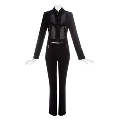 Gianni Versace black lycra and mesh pant suit, ss 2003