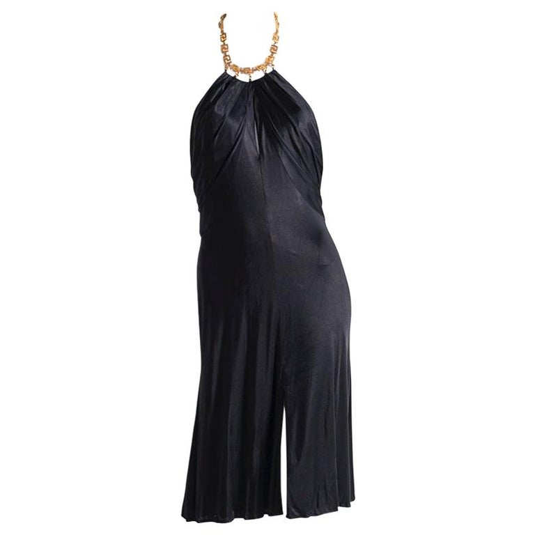Gianni Versace Black Medusa Evening Dress 1990's For Sale