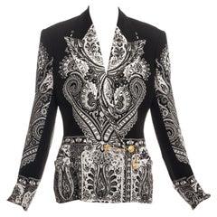 Gianni Versace black paisley printed silk safety-pin jacket, ss 1994