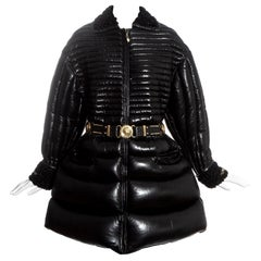 Gianni Versace black quilted down leather dress coat and belt, fw 1992