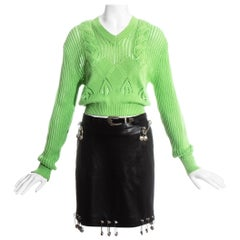Gianni Versace black safety pin skirt and neon green sweater ensemble, ss 1994