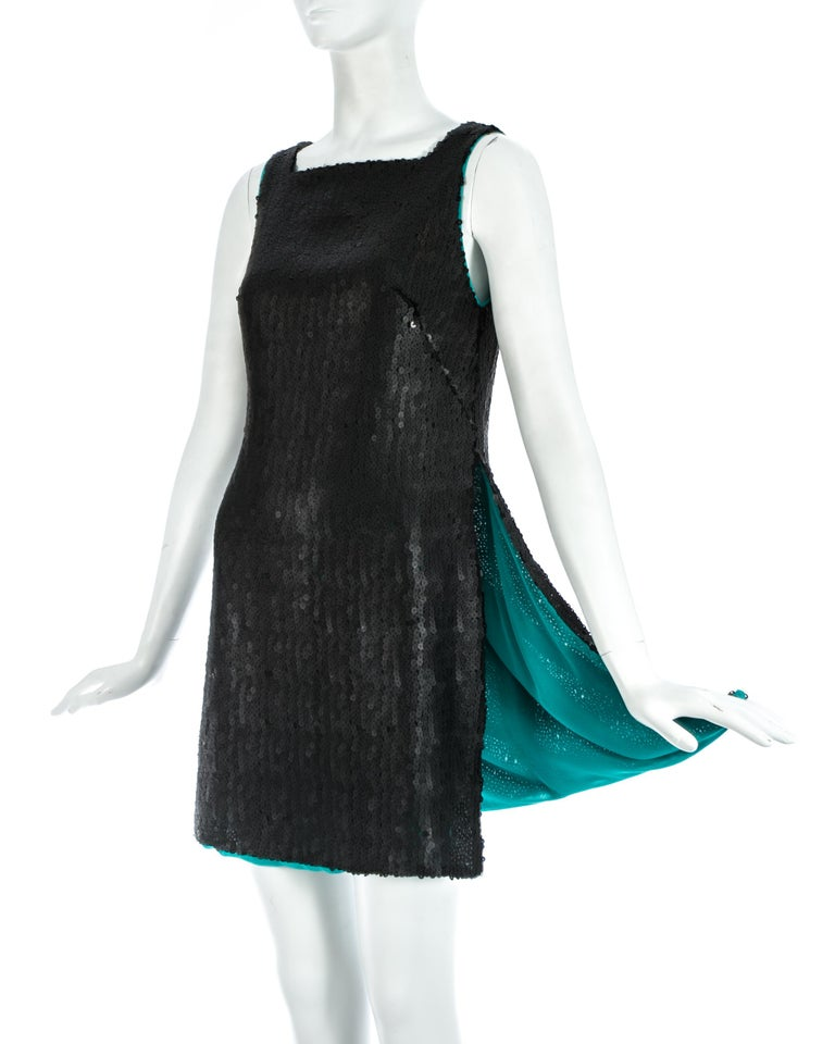 Black sequin mini dress / tunic with extra high side slits and turquoise silk chiffon lining   Autumn-Winter 1999