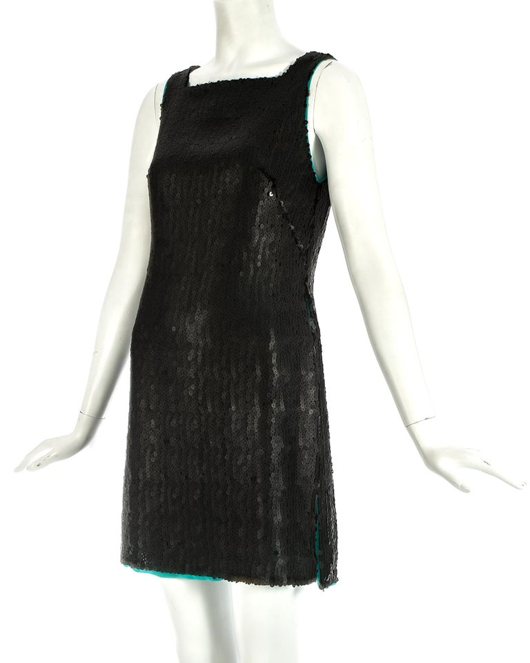 Black Gianni Versace black sequin mini dress / tunic with high side slits, A/W 1999 For Sale