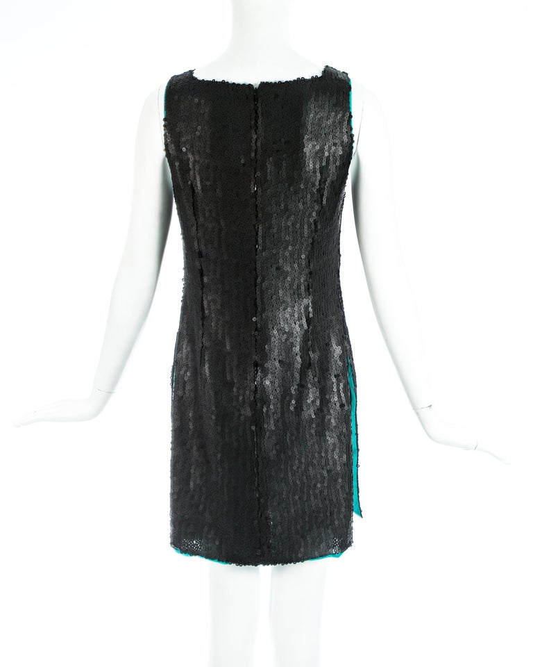 Women's Gianni Versace black sequin mini dress / tunic with high side slits, A/W 1999 For Sale