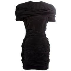 Gianni Versace black silk ruched mini dress, ss 1987