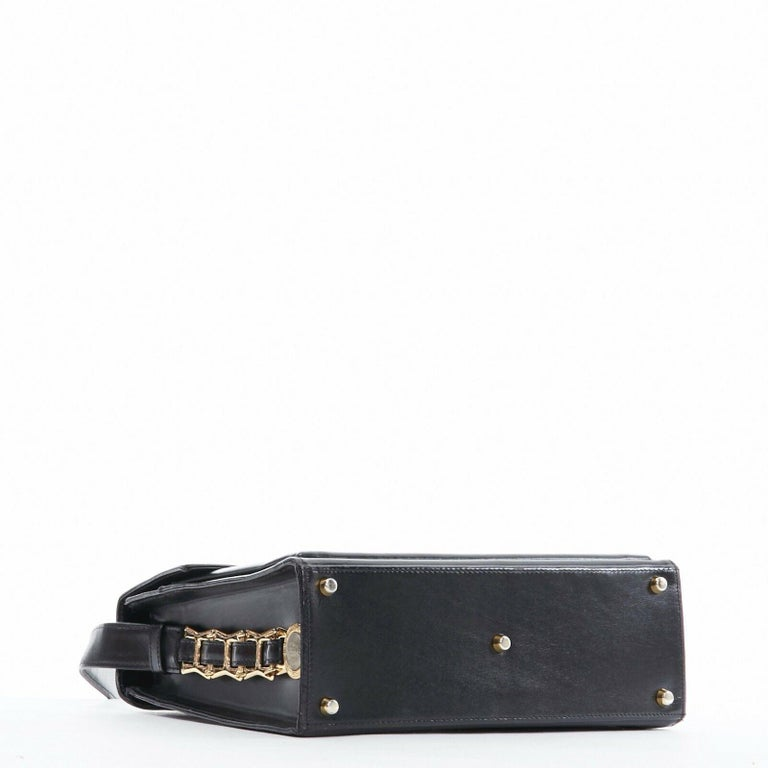 GIANNI VERSACE black smooth leather gold silver Medusa buckle chain trim box bag For Sale 2