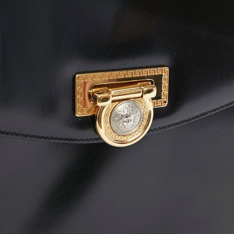 GIANNI VERSACE black smooth leather gold silver Medusa buckle chain trim box bag For Sale 3