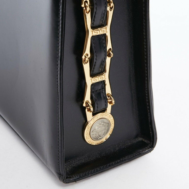 GIANNI VERSACE black smooth leather gold silver Medusa buckle chain trim box bag For Sale 4