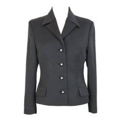Gianni Versace Black Vintage Wool Silk Jacket