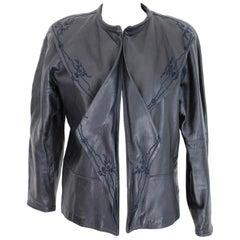 Gianni Versace Blue Soft Leather Embroidered Short Jacket Bolero