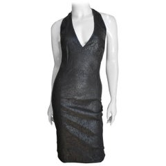 Gianni Versace Bodycon Laser Cut Leather Backless Dress