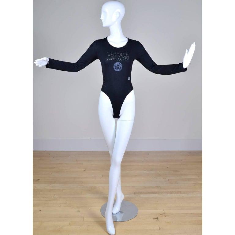 Black Gianni Versace Bodysuit Versace Jeans Couture Logo Top w Medusa Logo  For Sale