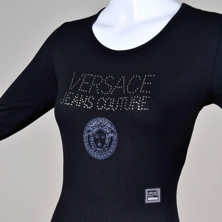 Women's Gianni Versace Bodysuit Versace Jeans Couture Logo Top w Medusa Logo  For Sale