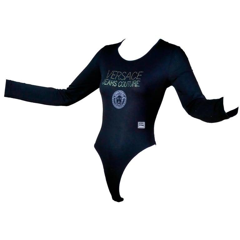 Gianni Versace Bodysuit Versace Jeans Couture Logo Top w Medusa Logo