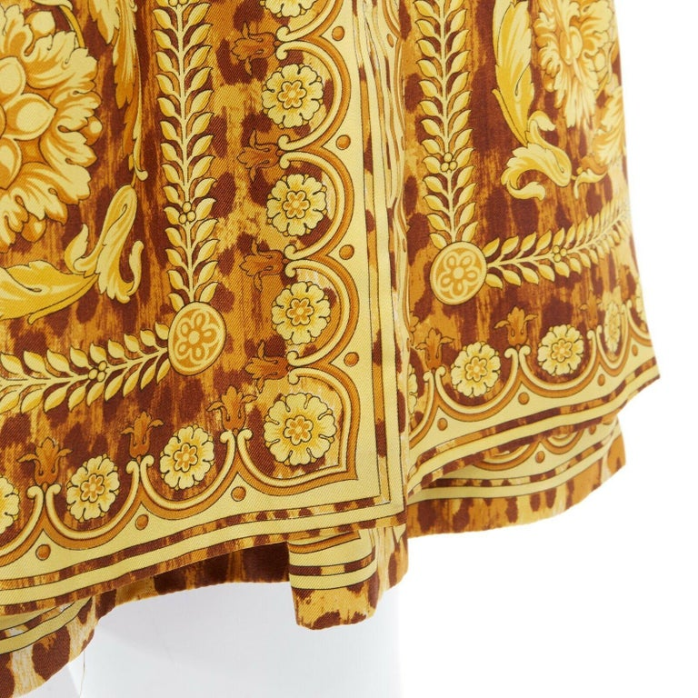 GIANNI VERSACE brown leopard gold baroque rococo print flared mini skirt IT42 M For Sale 6