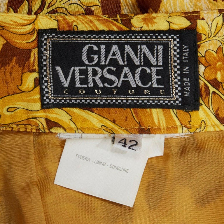 GIANNI VERSACE brown leopard gold baroque rococo print flared mini skirt IT42 M For Sale 7