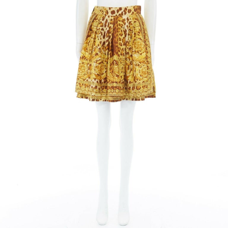 GIANNI VERSACE brown leopard gold baroque rococo print flared mini skirt IT42 M In Excellent Condition For Sale In Hong Kong, NT
