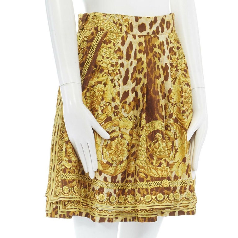 Women's GIANNI VERSACE brown leopard gold baroque rococo print flared mini skirt IT42 M For Sale