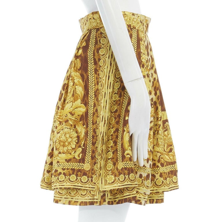 GIANNI VERSACE brown leopard gold baroque rococo print flared mini skirt IT42 M For Sale 1