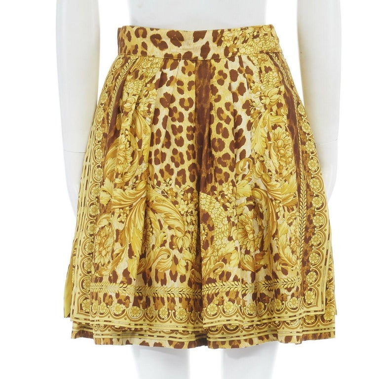 GIANNI VERSACE brown leopard gold baroque rococo print flared mini skirt IT42 M For Sale 2