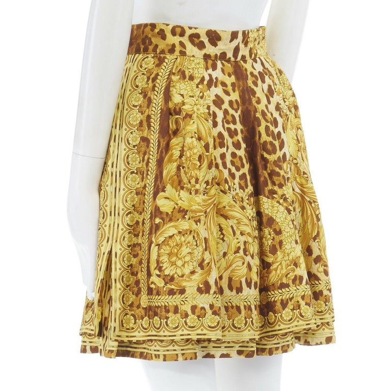 GIANNI VERSACE brown leopard gold baroque rococo print flared mini skirt IT42 M For Sale 3