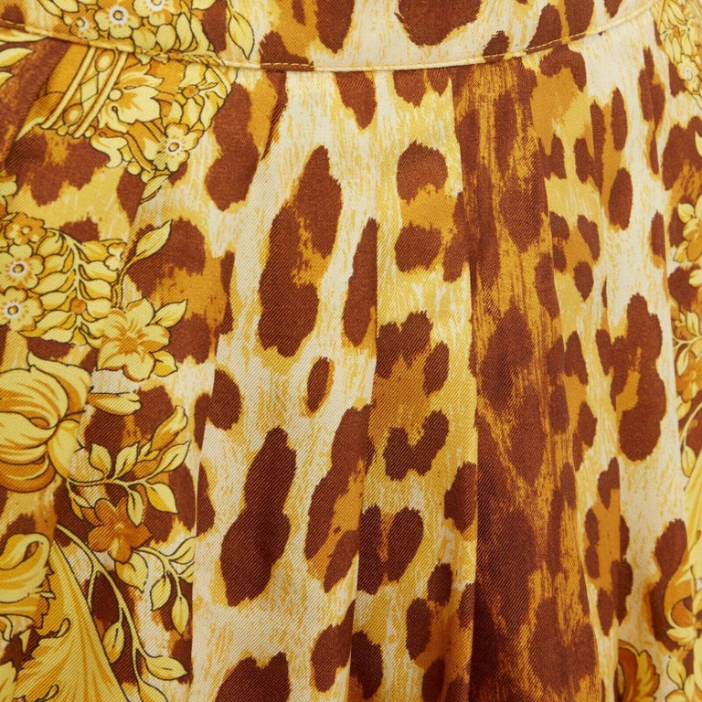 GIANNI VERSACE brown leopard gold baroque rococo print flared mini skirt IT42 M For Sale 5