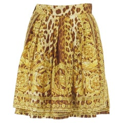 GIANNI VERSACE brown leopard gold baroque rococo print flared mini skirt IT42 M