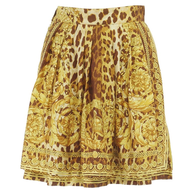 GIANNI VERSACE brown leopard gold baroque rococo print flared mini skirt IT42 M For Sale