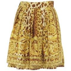 GIANNI VERSACE brown leopard gold baroque rococo print flared mini skirt IT42 M