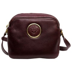 Gianni Versace Burgundy Leather Vintage Crossbody Bag