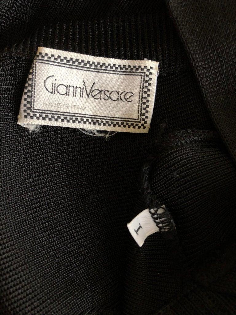 Gianni Versace c. 1980 Vintage Semi-Sheer Bodycon Knit Black Dress For Sale 7