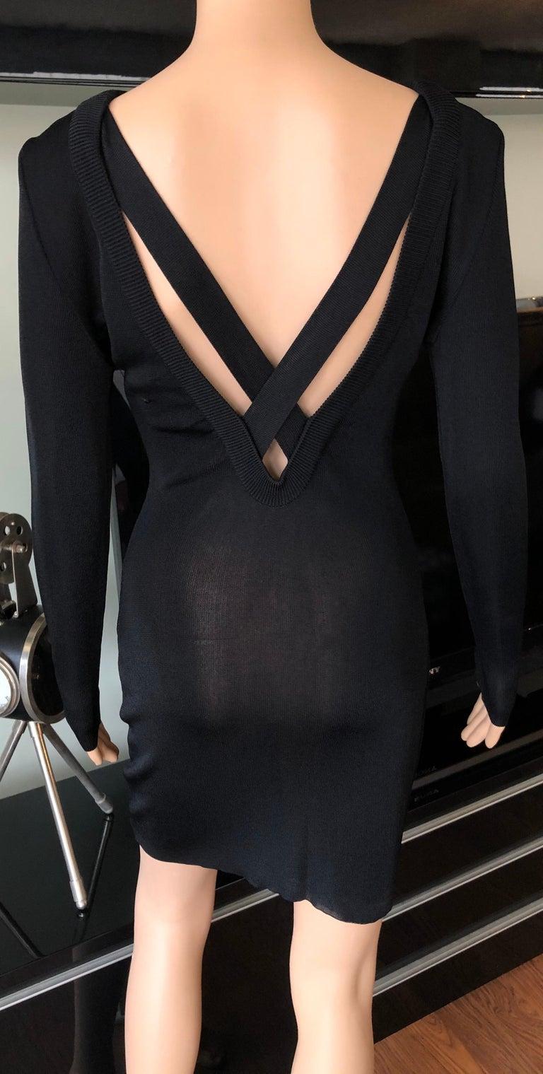 Women's Gianni Versace c. 1980 Vintage Semi-Sheer Bodycon Knit Black Dress For Sale