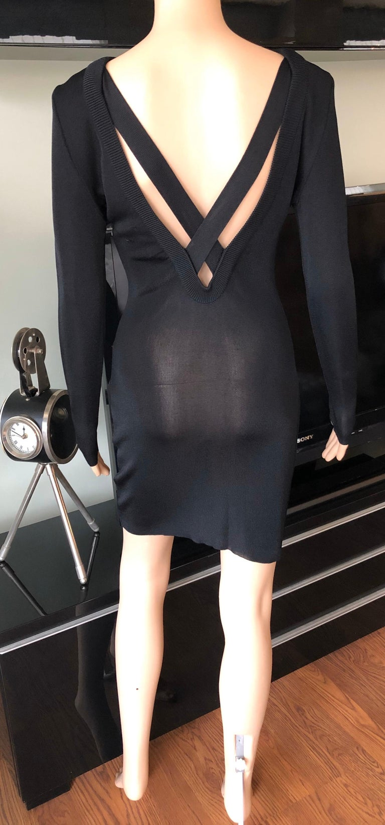 Gianni Versace c. 1980 Vintage Semi-Sheer Bodycon Knit Black Dress For Sale 2