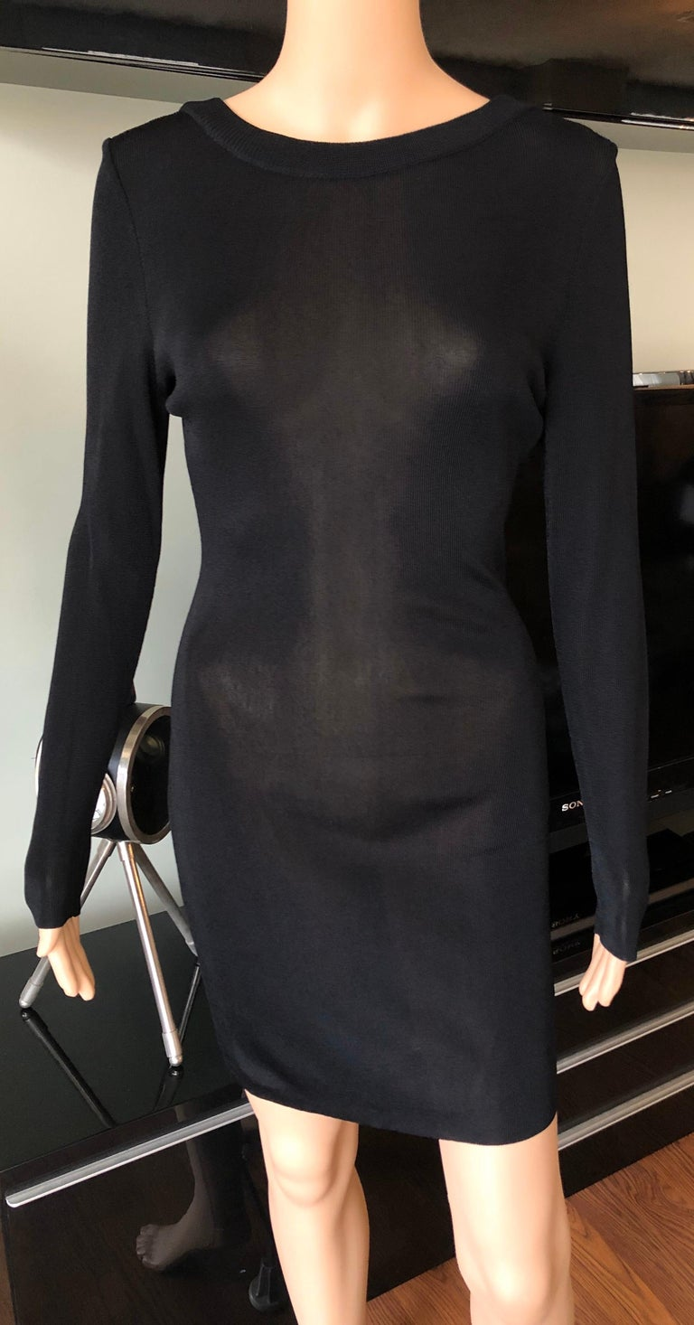 Gianni Versace c. 1980 Vintage Semi-Sheer Bodycon Knit Black Dress In Good Condition For Sale In Totowa, NJ