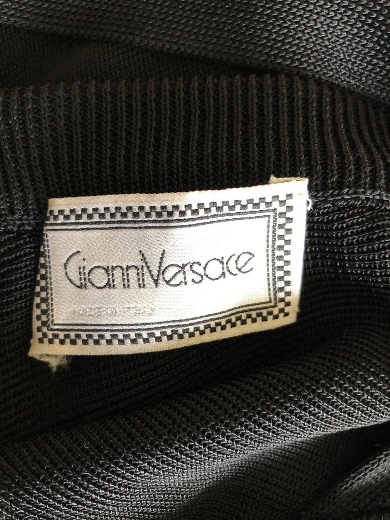 Gianni Versace c. 1980 Vintage Semi-Sheer Bodycon Knit Black Dress For Sale 6