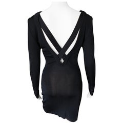 Gianni Versace c. 1980 Vintage Semi-Sheer Bodycon Knit Black Dress