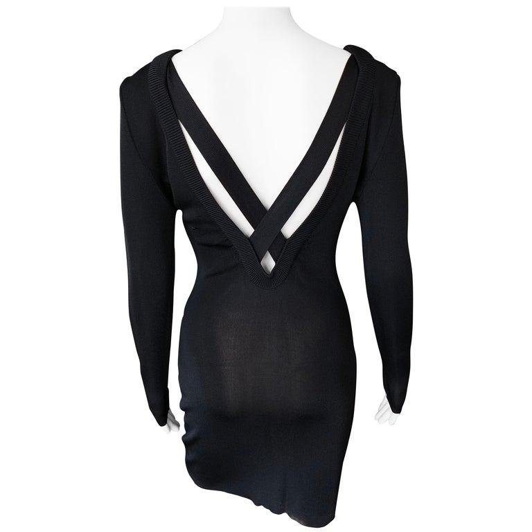 Gianni Versace c. 1980 Vintage Semi-Sheer Bodycon Knit Black Dress For Sale