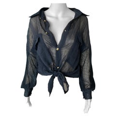 Gianni Versace c. 1990 Vintage Sheer Silk Mesh Black Shirt Blouse Top