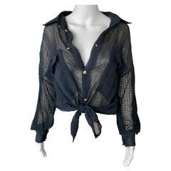 Gianni Versace c. 1990 Vintage Sheer Silk Mesh Black Shirt Blouse Top