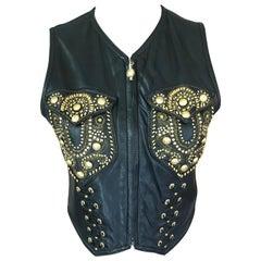 Gianni Versace F/W 1992 Vintage Embellished Black Leather Vest Top