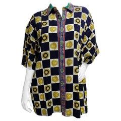 Gianni Versace Checkered Button-Up Shirt