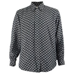 Gianni Versace Classic V2 Men's Checkerboard Pattern Jacquard Shirt, 1990s