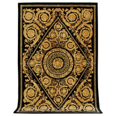 Gianni Versace Collection Black and Gold Designer Carpet, Rug. Barocco