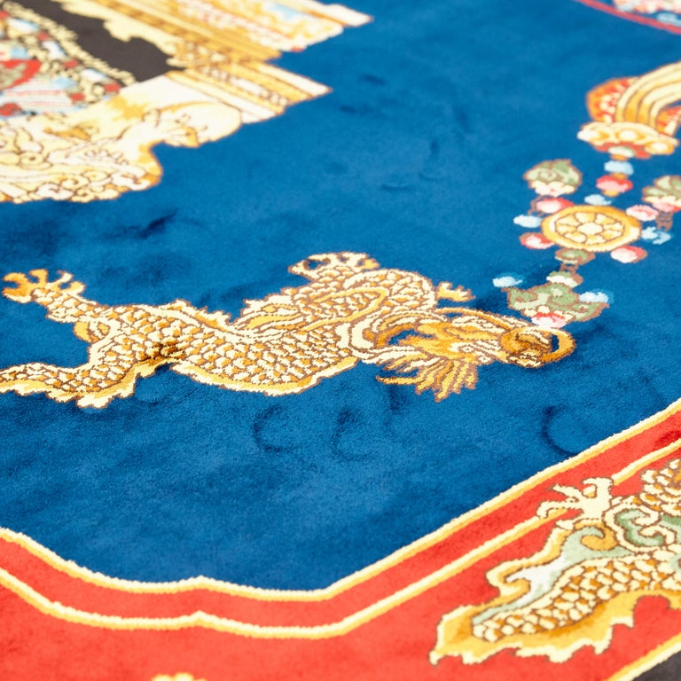 Rug made in China designed and manufactured by Atelier Versace  Mandarin's garden silk 200x200   In good original condition, with minor wear consistent with age and use  A vintage Gianni Versace Home signature silk rug.   The quality of